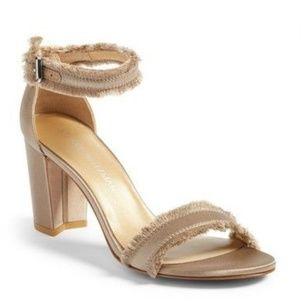 Stuart Weitzman Frayed Sandals Heels Misty Satin